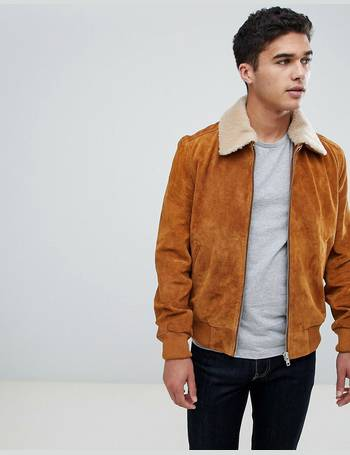 87e8d39f0 Suede Bomber Jacket with Borg Collar