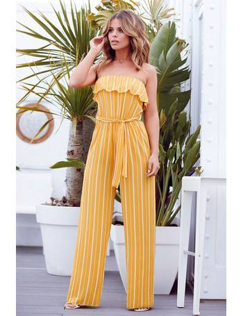 16312a60c34 Mustard Stripe Bandeau Palazzo Jumpsuit from Quiz Clothing