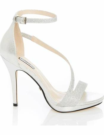 9649a64045 Silver Diamante Slant Strap Heel Sandals from Quiz Clothing