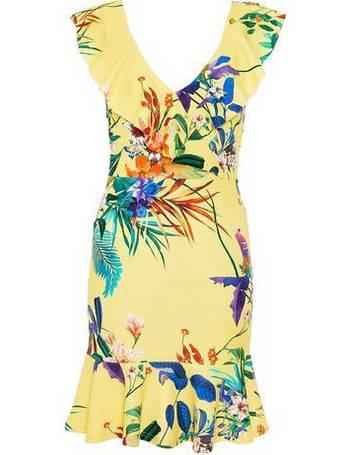 2a7cbb44b338 Womens Quiz Yellow Floral Print Skater Dress- Yellow from Dorothy Perkins