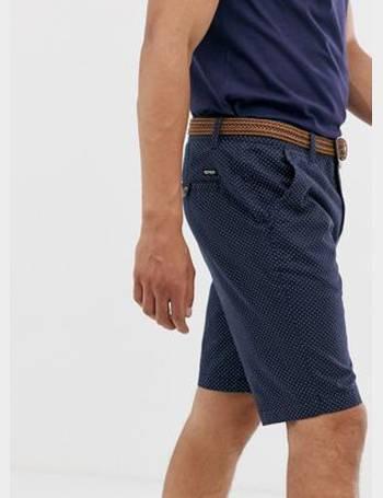 Soul Star Men/'s Oxford Turn Up Shorts White