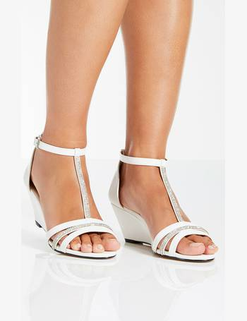 350ec89226 White Diamante Strap Low Heel Wedge from Quiz Clothing