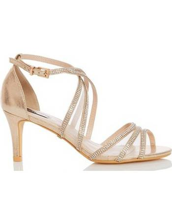 240ce5e5687 Womens Quiz Gold Diamante Mid Heel Sandals- Gold from Dorothy Perkins