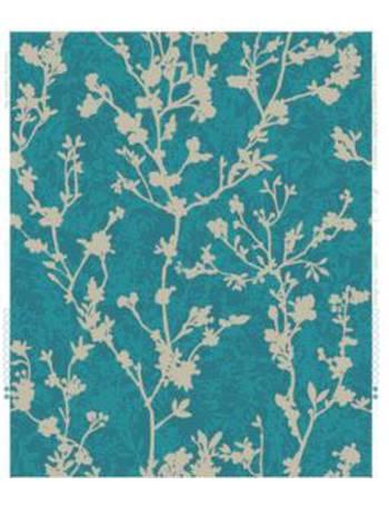 Silhouette Teal Floral Metallic Effect Wallpaper