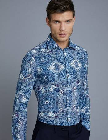 9a33ffc4 Men's Curtis Blue Paisley Slim Fit Shirt from Hawes & Curtis
