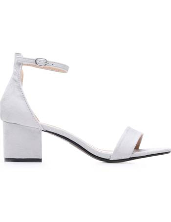 36c1bfbbdc Low Block Heel Light Grey Sandals with Ankle Strap from KOI Footwear