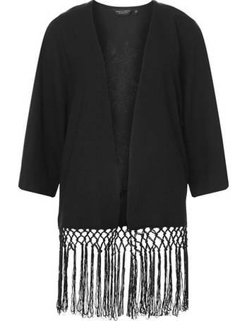 e36e66f9d Womens Black Embroidered Tassel Kimono- Black from Dorothy Perkins
