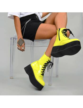 26fcdc58abc Highlighter Neon Yellow Patent Mega Platform Stomper Lace up Boots from KOI  Footwear