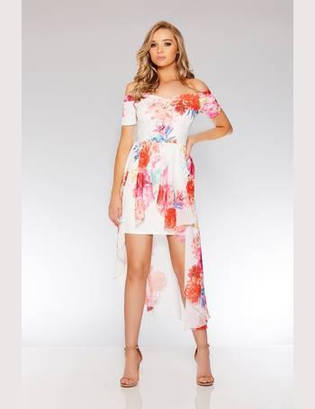 0f49f0d225 Cream Floral Print Bardot Dress from Quiz Clothing