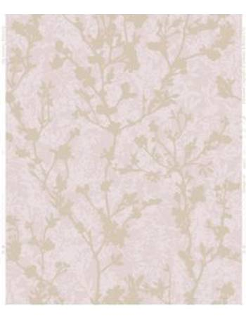 . Silhouette Pink   rose gold effect Floral Wallpaper