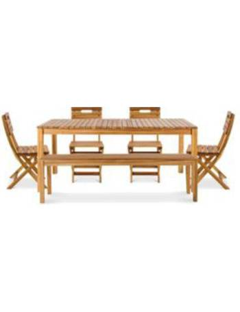 Denia Wooden 6 Seater Dining Set With Bench