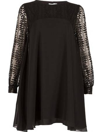 58b38ae0db2 Womens Blue Vanilla Black Lace Sleeve Tunic Dress- Black from Dorothy  Perkins