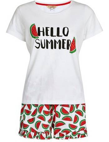 6d990345c8fb Womens Petite Multi Colour  Hello Summer  Pyjama Set- White from Dorothy  Perkins