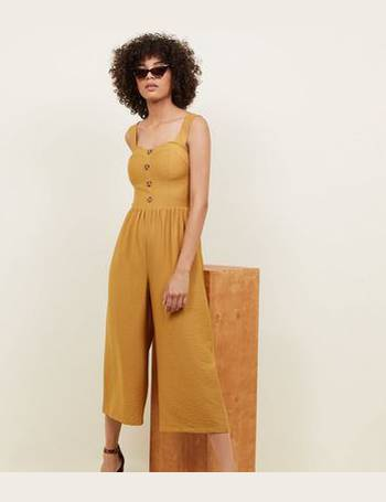 f662b4acee5 Cameo Rose. Yellow Button Through Culotte Jumpsuit New Look