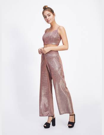 6f108e743fef3 Womens Petite Pink Shimmer Wide Leg Trousers from Miss Selfridge