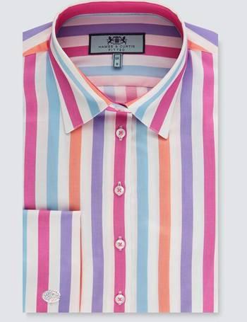 92909e5b193ca4 Women's White & Fuchsia Multi Stripe Fitted Shirt – Double Cuff from Hawes  & Curtis