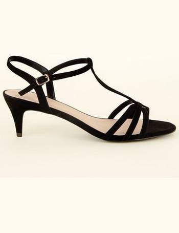 a30d133e2371 Wide Fit Black Comfort Flex Suedette Strappy Kitten Heels New Look from New  Look