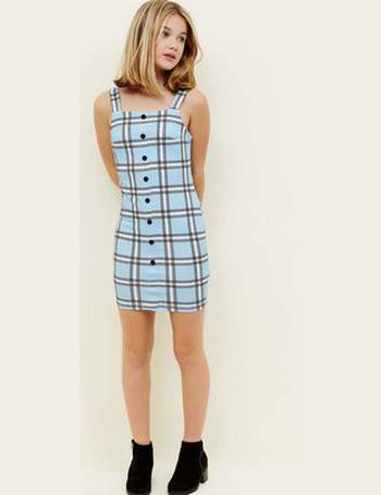 fc5efc4ed4 Girls Blue Check Button Front Bodycon Pinafore Dress New Look from New Look