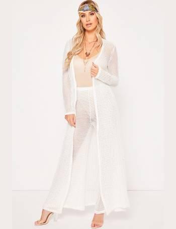 6565566c4 Ferne McCann White Crochet Style Lace Floor Length Kimono from Miss Pap