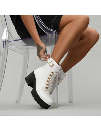 050a91b33d5 White Chunky Platform Biker Boots with White Laces and Ski Hooks from KOI  Footwear