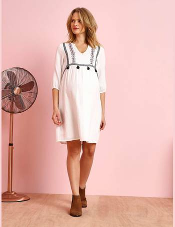 b5bc429b61834 Embroidered Maternity Dress in Crepon, with Tassels from Vertbaudet