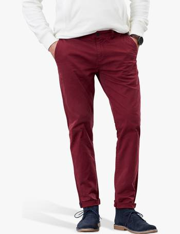 Joules Mens The Laundered Chino Trousers in Dark Wine