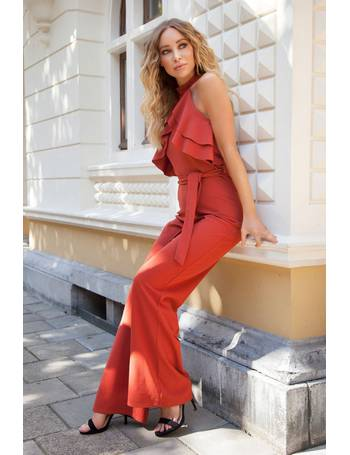 401affe88140 Rust Frill Halterneck Palazzo Jumpsuit from Quiz Clothing
