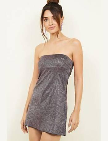 8180684b05a Dark Purple Glitter Bandeau Dress New Look from New Look. 72% OFF
