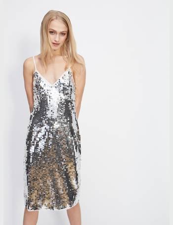 c9b41bad70b Womens Silver Sequin Slip Midi Dress from Miss Selfridge