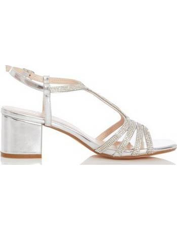 32182376d11 Womens Quiz Silver Diamante Strap Block Heel Sandals- Silver from Dorothy  Perkins