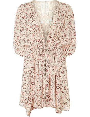 ef599ba77b843 Womens DP Beach Ivory Lace Back Printed Kimono- Ivory from Dorothy Perkins
