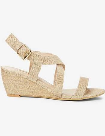 f46dfc8fff0 Womens Gold 'Rosina' Wedge Sandals- Gold
