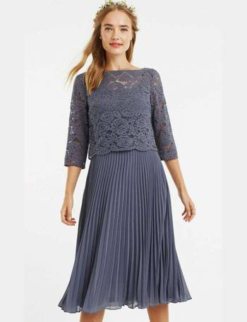 cdcb58d173c2 Oasis. Mid Grey 3/4 Sleeve Lace Pleated Midi Dress. from Little Mistress