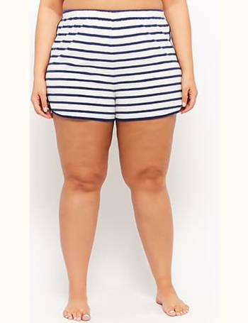e3091f9d83 Plus Size Striped French Terry Knit Dolphin Shorts from Forever 21