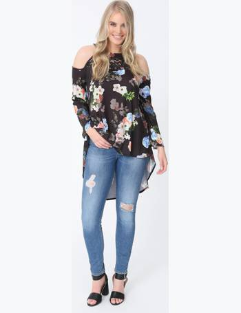 2011e501bdc5f6 Plus Chrissy Cold Shoulder Top in Floral Print from Pink Clove