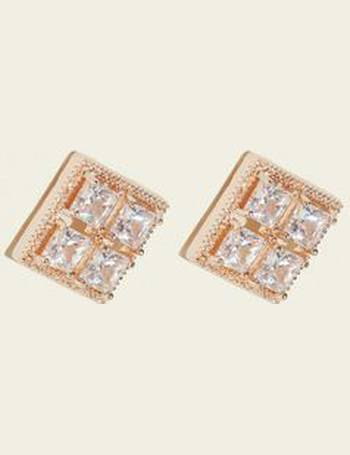 da02939b1 Rose Gold Cubic Zirconia Square Stud Earrings New Look from New Look