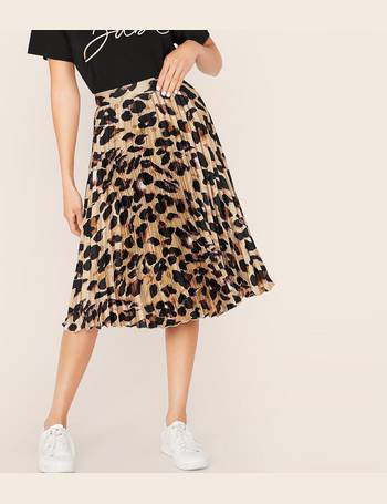 new specials new style of 2019 release date Leopard Pleated Satin Skirt