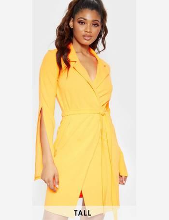 cb97291ffab6b Tall Neon Orange Tie Waist Blazer Dress from Pretty Little Thing