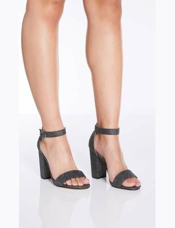 5ba7c48b3fe Pewter Glitter Block Heel Sandals from Quiz Clothing
