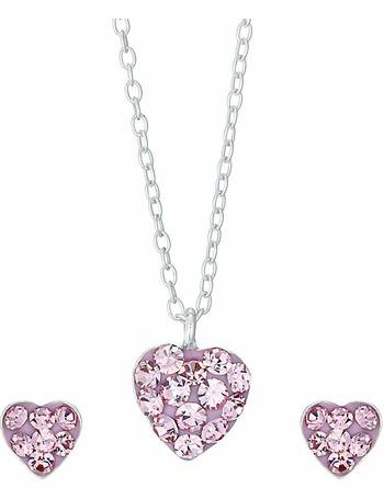 7a3746a46 Kids Silver Pink Crystal Earrings and Pendant Set from H Samuel