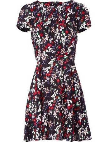 3b0a77884f3a6 Womens Izabel London Multi Colour Ditsy Floral Print Tea Dress- Black from  Dorothy Perkins