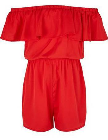 9525159e009 Teens Red Frill Trim Bardot Neck Playsuit New Look from New Look