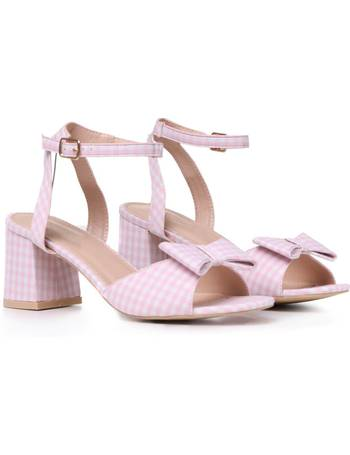 d07031536b Pink and White Gingham Bow Feature Low Block Heel Sandals from KOI Footwear