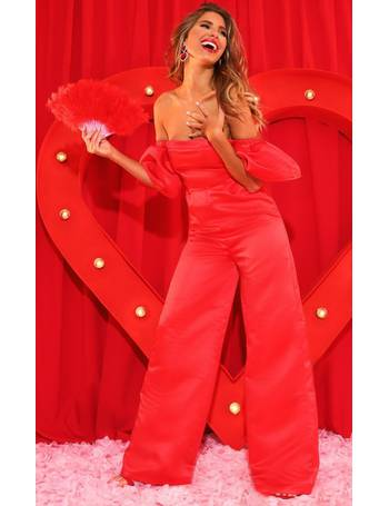 34dad80e1bc Red Thick Satin Bardot Jumpsuit from Pretty Little Thing