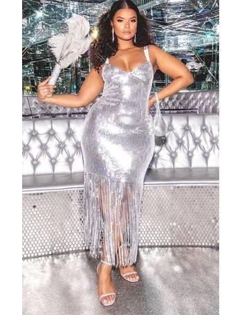 1098dc45 Hailey Baldwin - Plus Silver Sequin Tassel Hem Midi Dress from Pretty  Little Thing