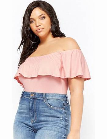 e251c572086 Plus Size Off-the-Shoulder Flounce Bodysuit from Forever 21
