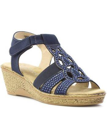 864b026deb81 Softlites. Womens Navy T-Bar Wedge Comfort Sandal. from Shoe Zone