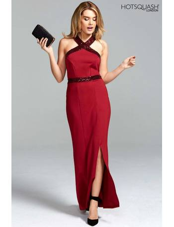 95bb7fe04c3 HotSquash Red Halter Neck Maxi Dress Evening Gown With Sequins from Next