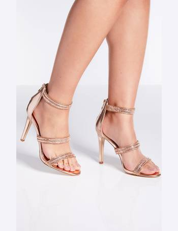 be64ee043a Rose Gold Diamante Triple Strap Heeled Sandals from Quiz Clothing