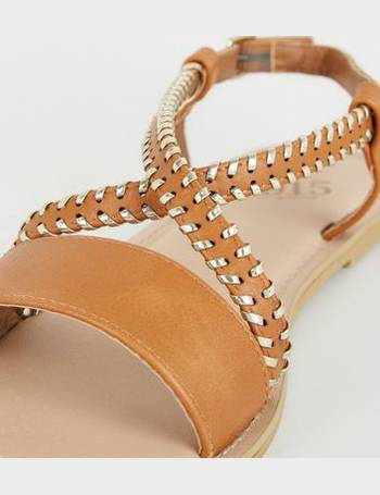 b00f8276e Girls Tan Metal Woven Strap Flat Sandals New Look from New Look